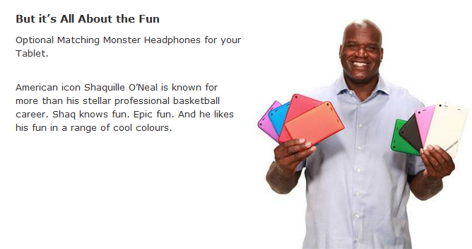 Monster M7 tablet endorsed by Shaq